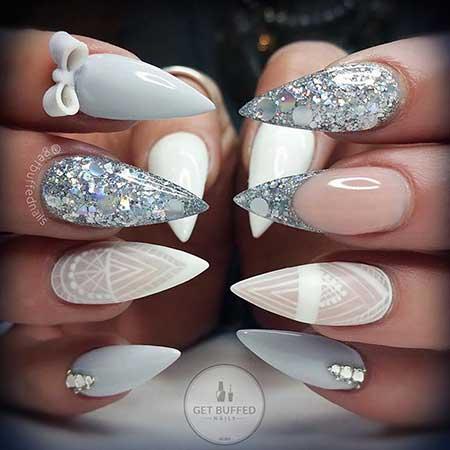 S Stiletto Nail Wedding Getbuffed Stilettos Grey