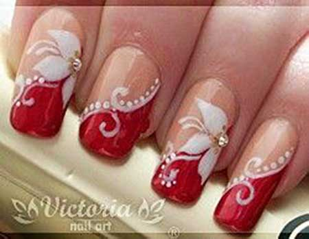 8 cool red and white nail designs nail art designs 2017 christmas art s holiday nail red red floral prinsesfo Images