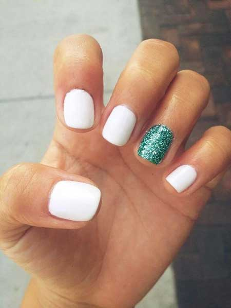 White Nail, Accent Nail, Glitter, Summer Manicures, White, Accent,