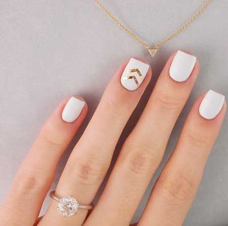 White Nail, Art Ideas, Manicures, Rings, Wedding Knuckle Rings, White, Gold