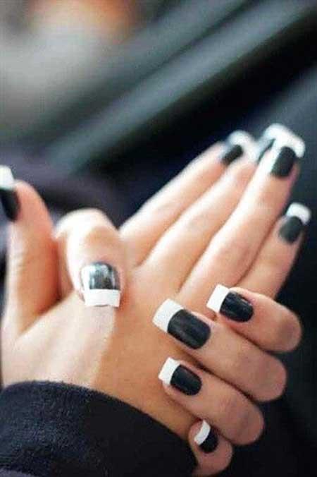 Black Nail, French Manicure, Manicures, Art, White, Black, Fresh, French, Idea