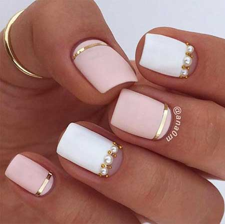White Nail Gold Nail, Nudepretty Nail, Short, Nude, White, Color