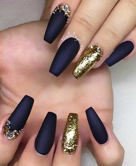 Nail, Coffin Matte Nail, Black Nail, Matt, Glam