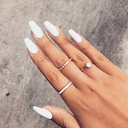 Nail Ring, White Nail, Stiletto Ringsck Nail, Beauty Makeup Hair Long, White