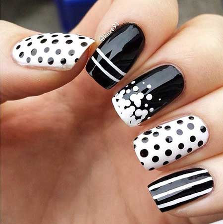 White Nail, Polka Dots, Pretty Nail, Dots, Black White, White