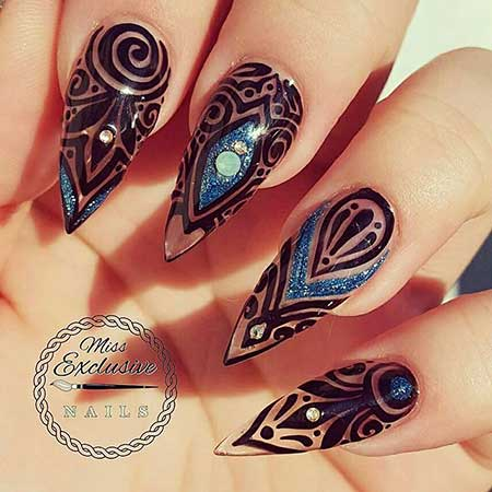 Art, Stamps, Polish, Black, Stiletto, S