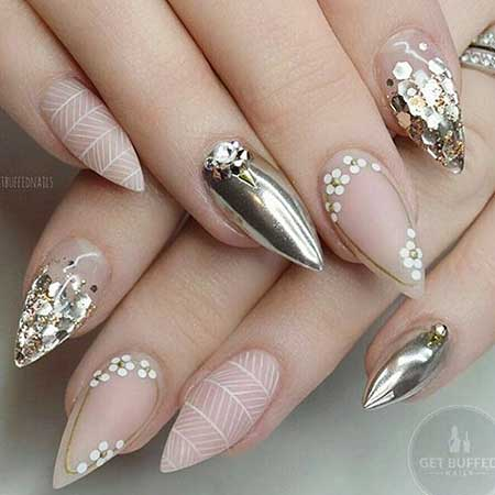 Nail, Wedding Stiletto Art, Nudenude, Stiletto, Rhinestone, Wedding, Idea