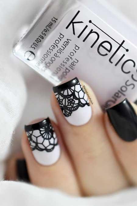Nail, Art, White Nail, Stamps, Halloween Black White, White, Black, Lace, Halloween