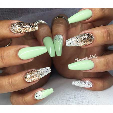 Stiletto Nail, Coffinstilettos, Glitter, Long, Green, Ombre