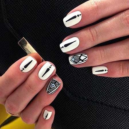 White Nail, Art, Black Nail, Black White, White