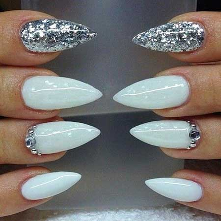 Nail, White Nails, Valkira, Glitter, Pointy, White