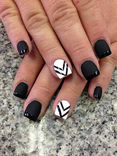 White Nail, White Stripe, Black Nail, Art, Very, White