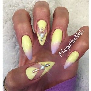 Stiletto Nail, Yellow Art, Yellow, Stiletto