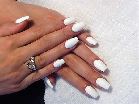 White Nail, Manicures, Matte Nail Short, Matte, White, Coffin, Stilettos