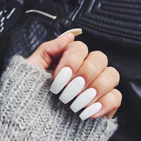 White Nail, Coffinyang Nail, Acrylic Pretty Nail, Long, White, Coffin