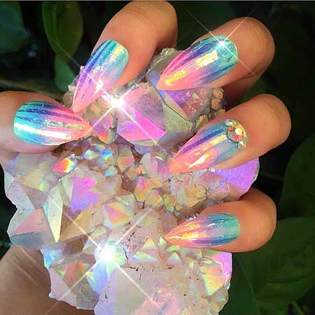 Opals, Crystals, Glitter Nail, Rainbows, Art, Stiletto, Holographic