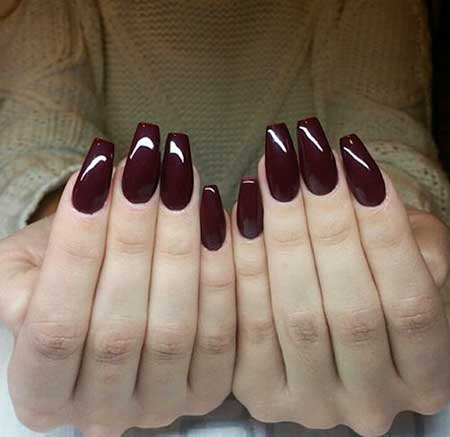 Burgundy Nail, Art Burgundy, Dark, Red, Coffin