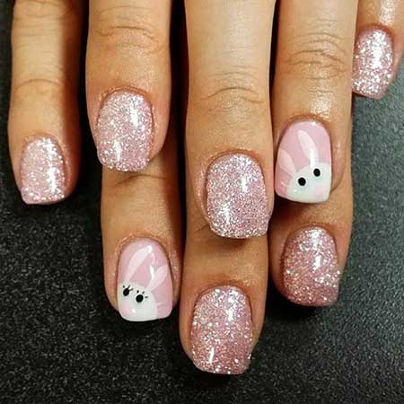 Glitter, Art, Pink, Glitter Nail, Easter, Idea, Cute