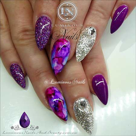 Purple Nail, Purple, Art, Luminous Stiletto Nail, Purple Flowers, Silver