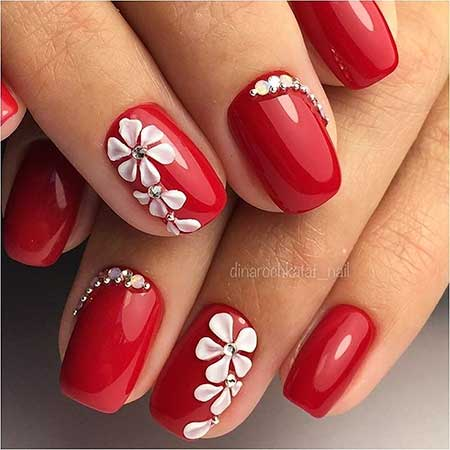 Art, Redflower Nail, Manicures, Red