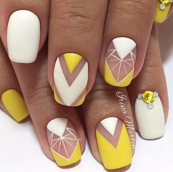 Nail, Art, Summer yellow, Pretty Nail, Yellow, White, Summer