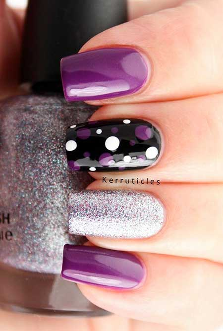 Black Nail, Art, Purple, Easy Nail, Nail Polish, Silver, Black, Easy