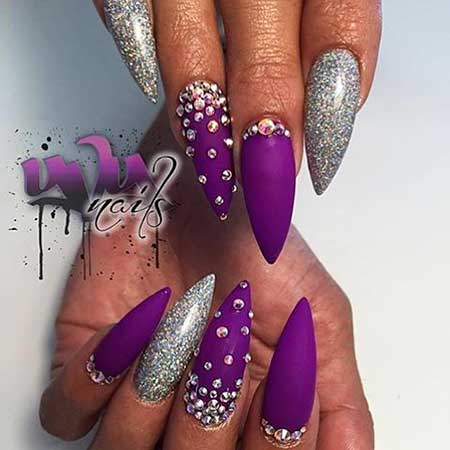 Stiletto Nail, Pretty Nail, Stilettos, Ps Silver, Purple, Stiletto