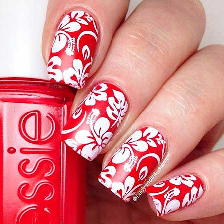 Christmas Nail, Art, Valentine Nail, Flower Nail, Red, White, Floral