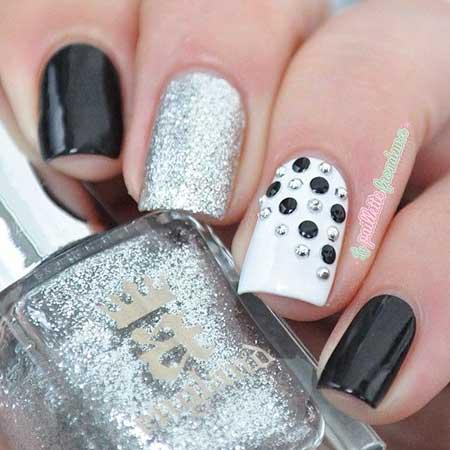 Glitter, Pretty Nail, Polish, Polka Dots, Silver, White, Black, Polka