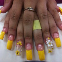 Art, Yellow Acrylic Acrylics, Manicures, Flower Nail, Yellow, Floral