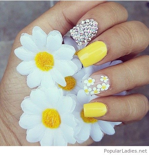 Flower, Daisies, Yellow, Laque Nail, Art Yellow Silver, Floral