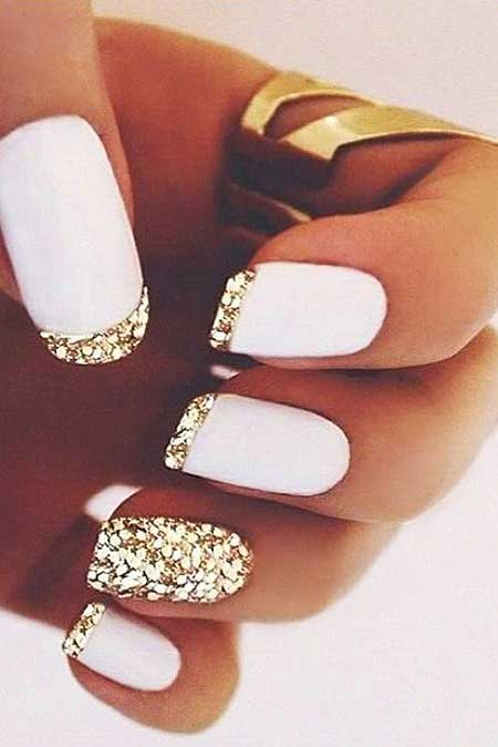 White Nail, Gold Nail Gold, Pretty Nail, White, Idea, Pretty