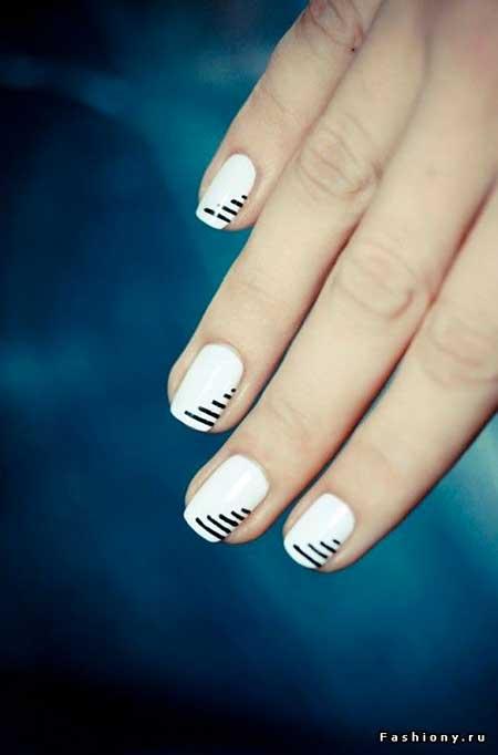 Nail, White Nail, Art, Tribal Nail, Nautical Nail, White, Black