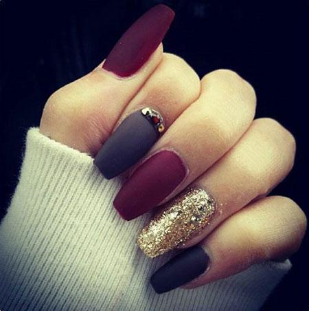 Best Nail Design, Matte Gold Black Design