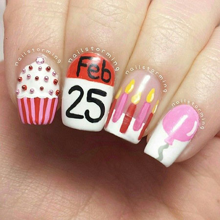 Birthday Nail Design, Birthday Christmas Sweater Dot