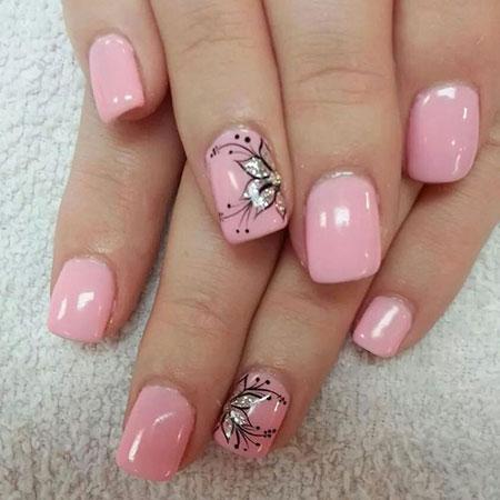 Flower Nail Design, Flower Manicure Sparkly Design