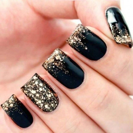 Party Nail Design, Glitter Gold Black Best