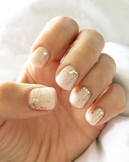 Wedding Nail Design, Gel Gold Glitter Manicure