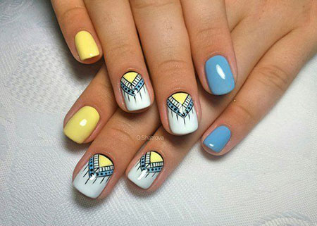 Blue Yellow Manicure Love
