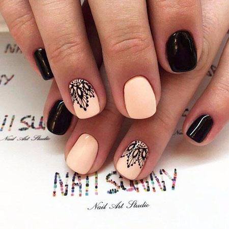 Short Manicure Black Elegant
