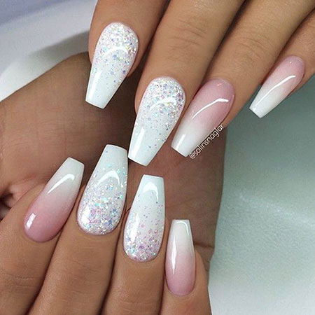 Ombre Coffin Glitter White