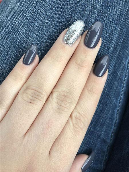 Grey Dark Glitter Round