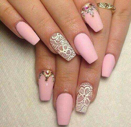 Lace Pink Acrylic White