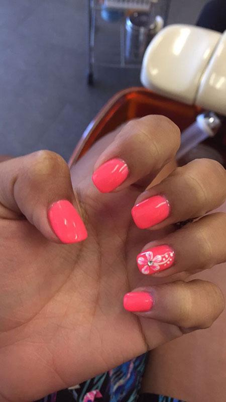 Pink Gel Flower Shellac