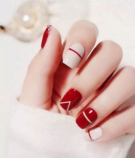 Red Manicure Short Ideas