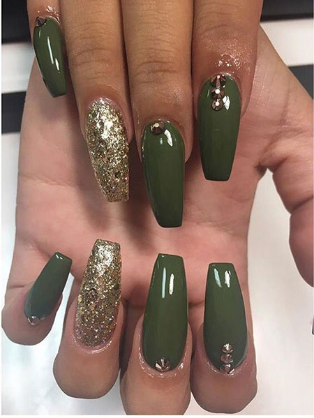 Long Coffin Shape Green Nails, Green Coffin Ideas Design