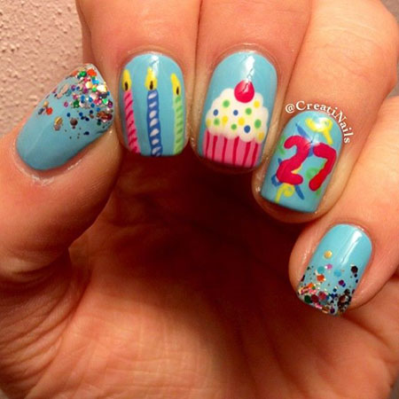 Nail Decoration for Birthday, Birthday Photo Colors Dots
