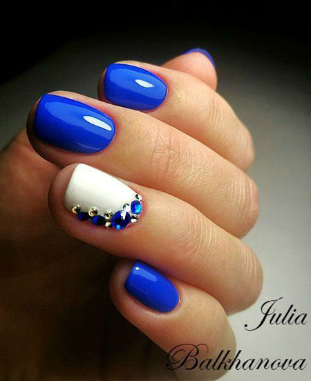 Blue and White Nail Art, Manicure Blue Design Fun