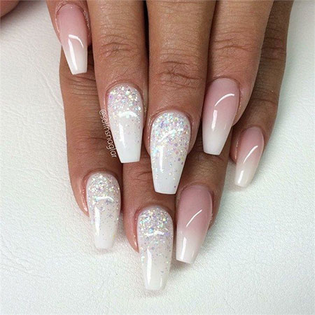 Amazing Ombre Nails French with Glitter, Glitter Ombre Top Cute