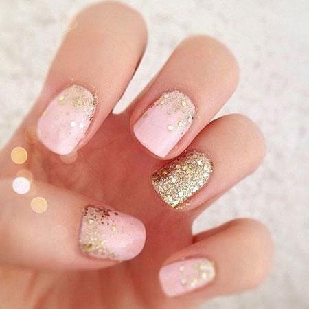 Glitter Gold Pink Manicure